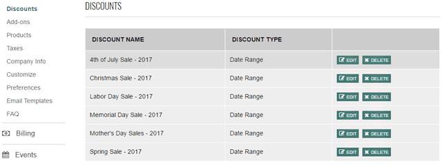 schedule discounts